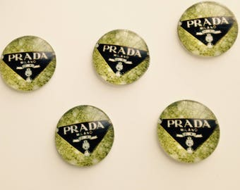 SET of 5 ornament color green and black to paste cabochon
