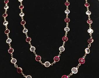 Vintage Monet Necklace, Goldtone, Red, Clear Crystal Like