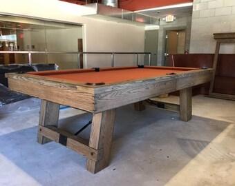 8u0027 Custom Pool Table Silvered Weathered Pool Table  Farmhouse Table Billiards  Decor