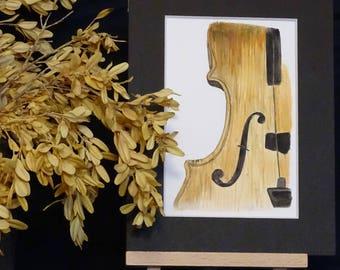 -Violin - original watercolor musical instrument