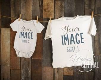 Blank White Baby Onesie & T-Shirt Mockup, Fashion Design Stock Photography, Matching 2 Shirts Mock up, Wood Background, JPG Download