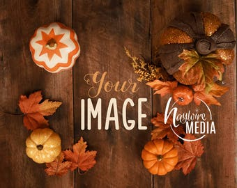 Fall Halloween Pumpkin Styled Stock Photography Table Photo Mockup Web Design Background Mock-Up Marketing Blog Photo - Wood Background