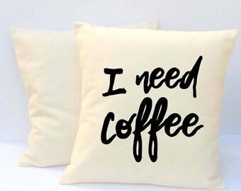 Coffee Pillow, Throw Pillow, Word Pillow, Pillow With Saying, Decorative Pillow, Coffee Pillow