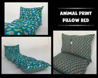 Nap Mat - Preschool Nap Mat - Toddler Nap Mat - Animal Print Pillow Mattress - Kids Nap Mat - Girls/Boys Pillow Bed