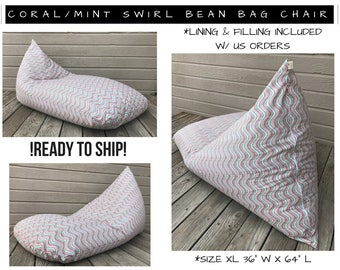 Bean Bag Chair - Dorm Room Furniture - Bean Bag Cover -Adult Bean Bag -Teen Bean Bag-Gaming Lounger -Oversize Bean Bag - Kids Bean Bag