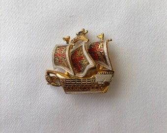 Vintage Spain Tall Sailing Ship Brooch