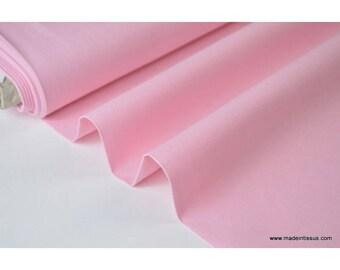 Tissu popeline coton uni tissé teint chambray rose