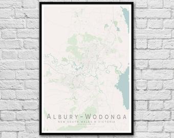 ALBURY - WODONGA NSW - Vic City Street Map Print | Wall Art Poster | Wall decor | A3 A2