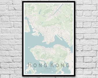 HONG KONG City Street Map Print | Wall Art Poster | Wall decor | A3 A2