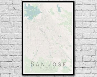 SAN JOSE Map Print | United States City Map Print | California Wall Art Poster | Wall decor | A3 A2