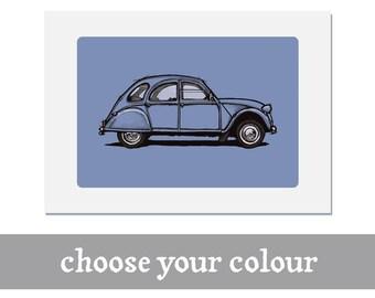 Citroen 2CV print | personalise | Deux Chevaux | Classic | Vintage | Illustration | poster