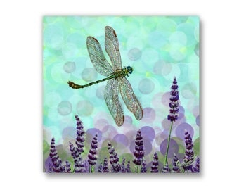 Small Giclée - Canvas Print - Acrylic Painting - Dragonfly - Lavender - Summer - Bloom - Contemporary Art - by Jasmine Star