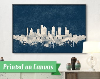 HOUSTON skyline, Houston, Canvas, Print, Travel, Art, Home Decor, Painting, Vintage, Skyline, City prints