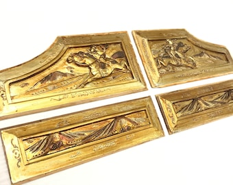 One Set 4 Pieces Wood Carvings Giltwood Chinese Vintage Wood Artwood Golden Sculpture Wall Decoration