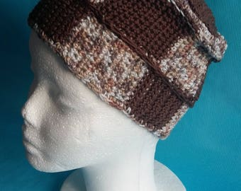 Hat adult Heather Brown and Brown Plaid