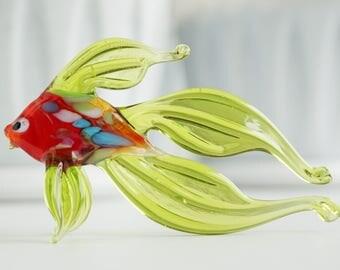 fish glass sculpture, micro figurine, statuette, miniatures, figurines, murano figurine, glass sculpture, glass figurines, blown glass,