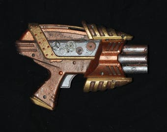 """Steampunk Gun Six Barrel Shooter Toy Cosplay Costume Post Apocalyptic Unique Prop Weapon w """"Rivets"""" Gears Hand Painted Silver Copper Gold"""