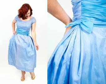 1950s Periwinkle Blue and Purple Party Dress - Medium