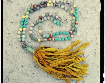 108 + 1 Mala Necklace • Colorful 8mm Stones • Hand Knotted Silk//Sunflower Yellow Sari Silk Tassel//Jasper//Amazonite//Oxidized Casing -Yoga
