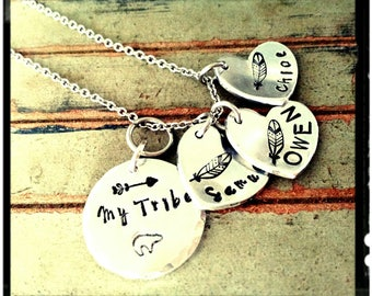 My tribe • Mama Bear - Mothers Charm Necklace - Hand Stamped Charms/Heart Charms -Child(s) Name Charm//Feather/Arrow Accents -Mom Gift