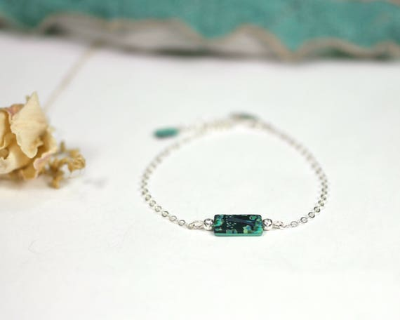 Teal bracelet on a sterling silver chain 'Tilia', handmade Japanese patterned bead