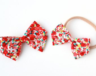 SALE-baby girl, Red Flower blossom bow, toddler, baby girl, fabric bow, nylon headband or clip