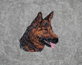 Hand towel with German Shepherd Dog head