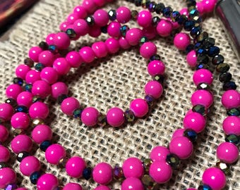 Hot pink beaded crystal necklace