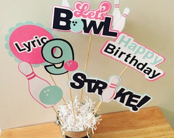 Bowling Party Centerpiece Sticks