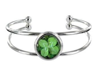 Four Leaf Clover Silver Plated Bangle in Organza Gift Bag
