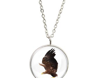 Golden Eagle Design Pendant and Silver Plated Necklace