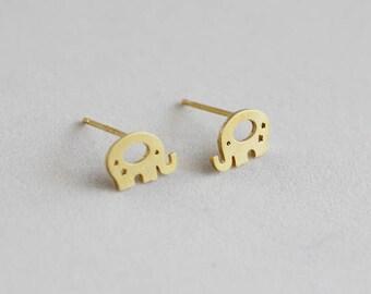 Cute Elephant Stud Earrings / elephant earrings, animal jewelry, dumbo studs, baby elephant earrings / E0-99