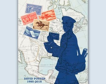 Mailman Print, Personalized Postal worker, Postman map stamps poster, Postman gift, postal worker retirement gift, post office decor