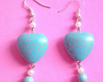 Gemstone earrings with blue heart handmade