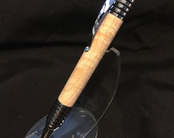 Spartan pen in curly maple and polished silver