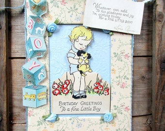 Vintage Embellished Birthday Card, Little Boy, Wall Hanging, Suitable for Framing or Sending, Mixed Media  Repurposed, Vintage