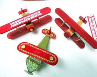 FREE SHIPPING - Set of Three Up cycled/Recycled Vintage Wood and Brushed Velvet Toy Airplane Valentines, 1960's