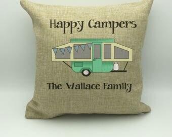 Camping Pillow | Camping Gift | Camp Pillow | Camping Decor | Custom Pillow | Burlap Pillow | Personalized Pillow | Glamping  | Camp Decor
