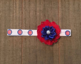 Chicago Cubs headband, Chicago Cubs Baby, Chicago Cubs Little Girls Headband