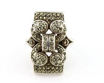 Heavy Silver & Marcasite Art Deco Statement Ring - c.1920