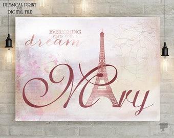 Personalized Name Print, Custom name, Paris decor, Paris art, Nursery poster, Bedroom poster, Wall art, Paris print, France, Vintage