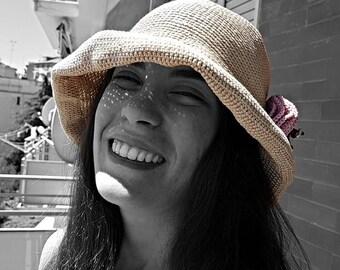 Cotton sun hat Santorini - crocheted light brim cappello estate vacanze al mare estate summer holidays sea beach cloche vintage taste