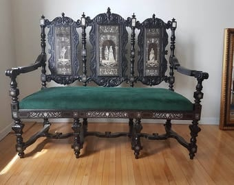 Antique Set of a Bench & a Chair Handmade with Ebonized Wood