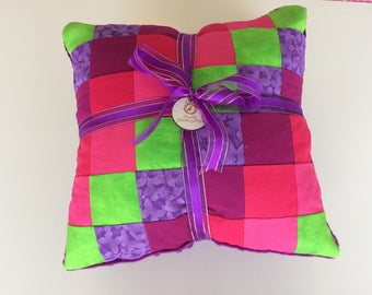 Bright patchwork minky soft decorative throw pillow cover. Home or nursery decor. Cushion cover. Custom