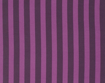 Tula Pink Elizabeth Selfie Stripes in Plum, tart or sky Cotton Fabric