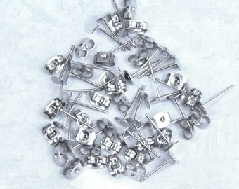 32 Pieces Of Surgical Steel Studs 5mm Surgical Steel Posts Earring Supply Posts And Backs Earring Pad