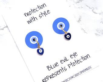 Tiny heart evil eye earrings, simple drop earrings, evil eye jewelry, goof luck jewelry, eye earrings, dainty minimalist earrings