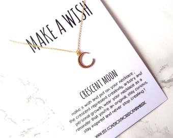 Crescent moon minimalist necklace, make a wish chain necklace, crescent moon jewelry, dainty delicate necklace, friendship gift, sister gift