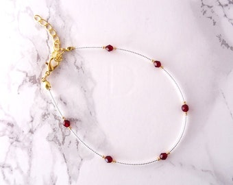 Minimalist simple anklet, dainty delicate crystal anklet,  everyday modern anklet bracelet, beaded anklet, minimalist jewelry, gift for her