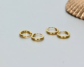 Gold Hoops, 8mm Gold Ear Hoops, Ear Hoops, Delicate Rings For Ear, Body Piercing Hoops, Tiny Hoops, Gift Ideas, Cartilage Hoops,(EG36X2)